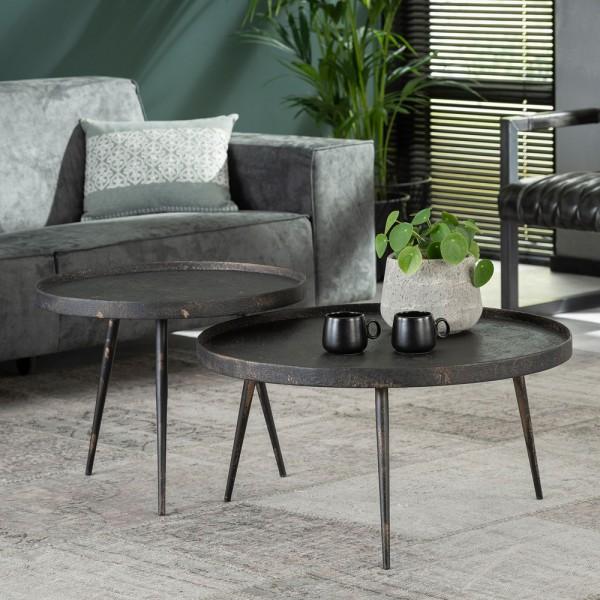 2er Set Couchtisch Metall schwarz Sofatisch Tischset