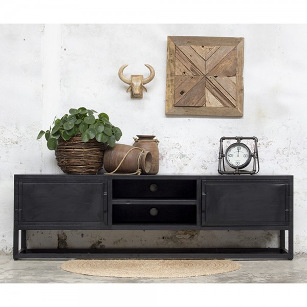 Industriedesign TV Möbel Urban XL 200 cm Sideboard Board Kommode Metall schwarz