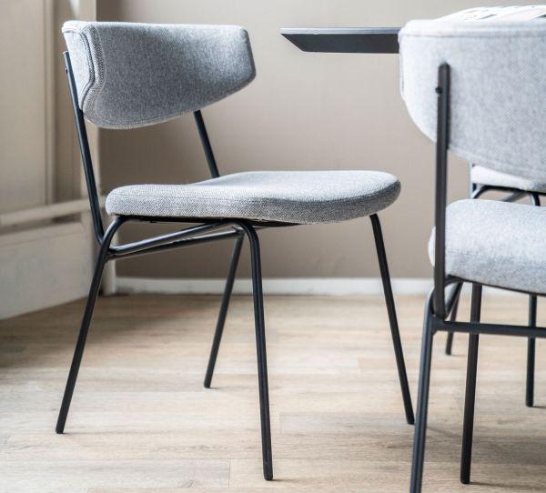 2er Set Esstischstuhl Cockett grau Stuhl Küchenstuhl