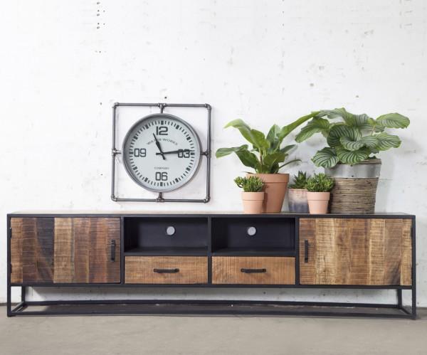 TV Möbel Jan 240 cm Lowboard Mango Metall schwarz