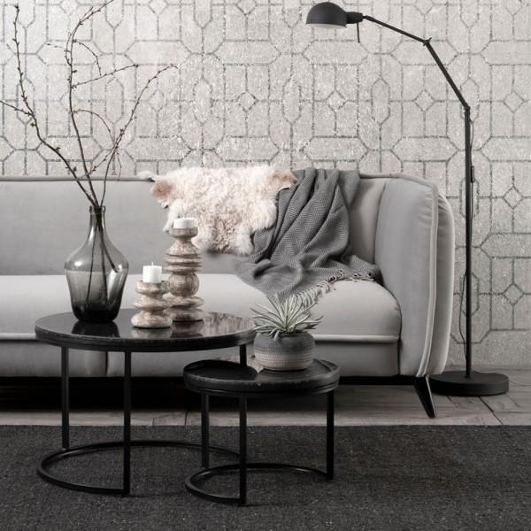 MUST LIVING 3 Sitzer Sofa Escape hellgrau Samt Velvet Lounge Couch