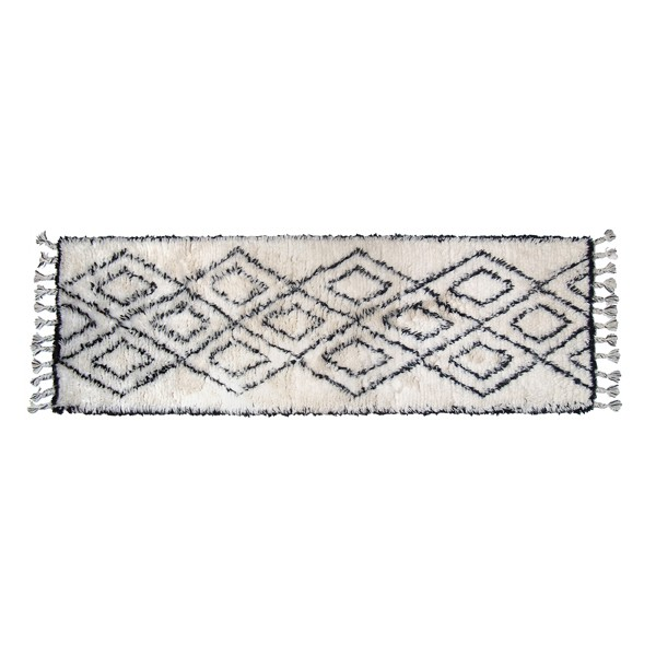 Berber Teppich Läufer 250 x 80 cm Wolle weiß schwarz