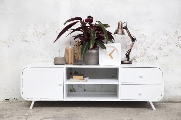 Industrie Design TV Möbel Retro 160 cm Lowboard Rack Board Fernsehtisch weiß