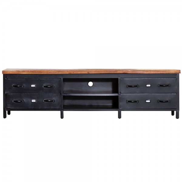TV Möbel Industrial 205 cm Sideboard Metall + Holz