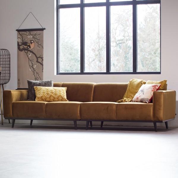 4 Sitzer Sofa STATEMENT Samt honiggelb Couch Garnitur Samtsofa Couchgarnitur