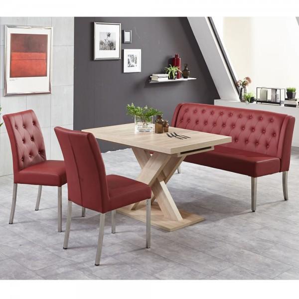 Bankgruppe Essgruppe LIVERPOOL Tischgruppe Bank Tisch Stühle Eiche bordeaux