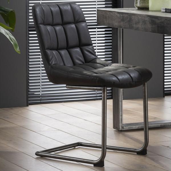 Stuhl BELLA Leder schwarz Schwingstuhl