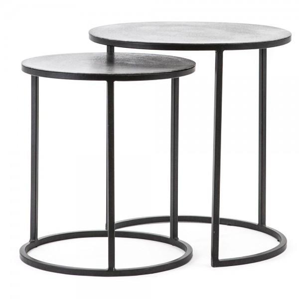 2er Set Beistelltische SETTO Metall schwarz grau Sofatisch Anstelltische Tische