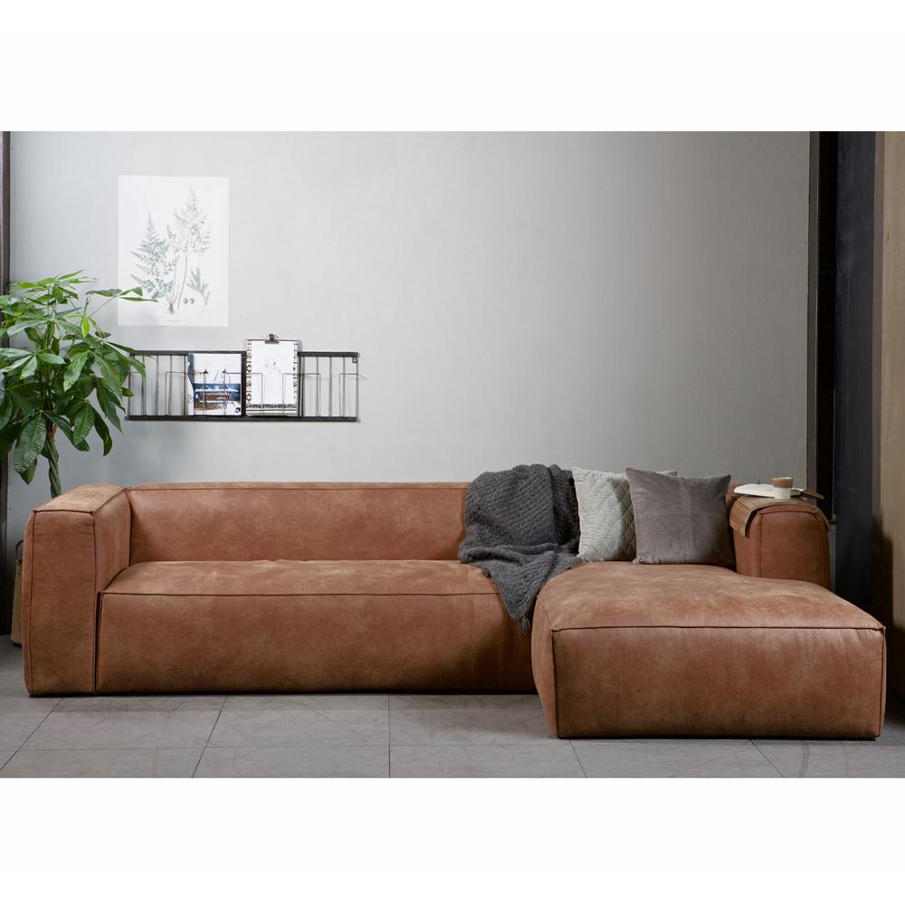 eckgarnitur bean leder cognac couch sofa ecksofa ledercouch longchair rechts new maison. Black Bedroom Furniture Sets. Home Design Ideas