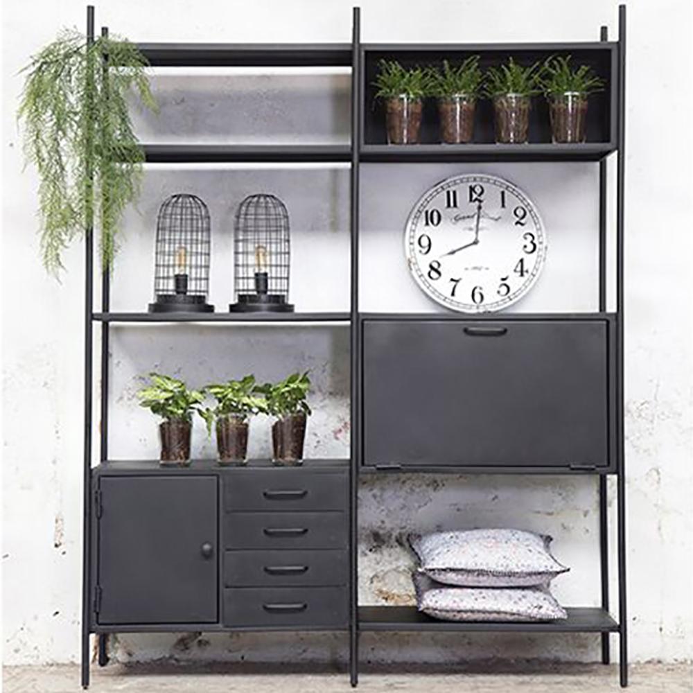industrie design regal fik schubladen metall vintage schwarz metallregal new maison esto