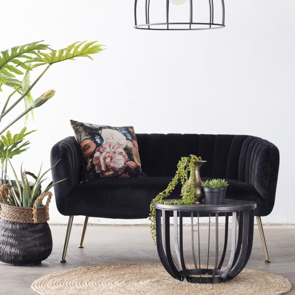 2 Sitzer Sofabank Sofa Amy 130 cm Samt schwarz Sitzbank
