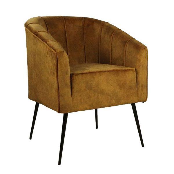 Esszimmerstuhl Chester ockergold Samt Sessel für Esstisch