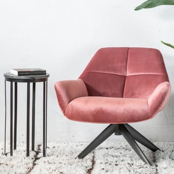 GIGA Lounge Sessel Shannon Samt rosa Velvet