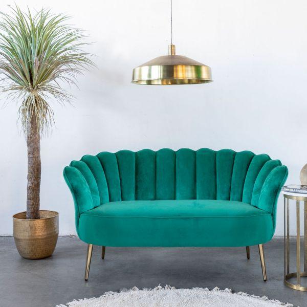 2 Sitzer Sofa Mala grün 145 cm Samt Sofabank