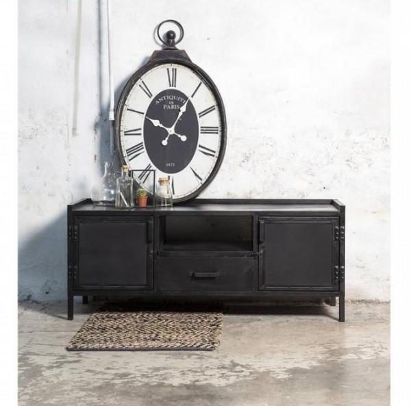 TV Möbel Lowboard schwarz Industrie Design Metall 2 Türen