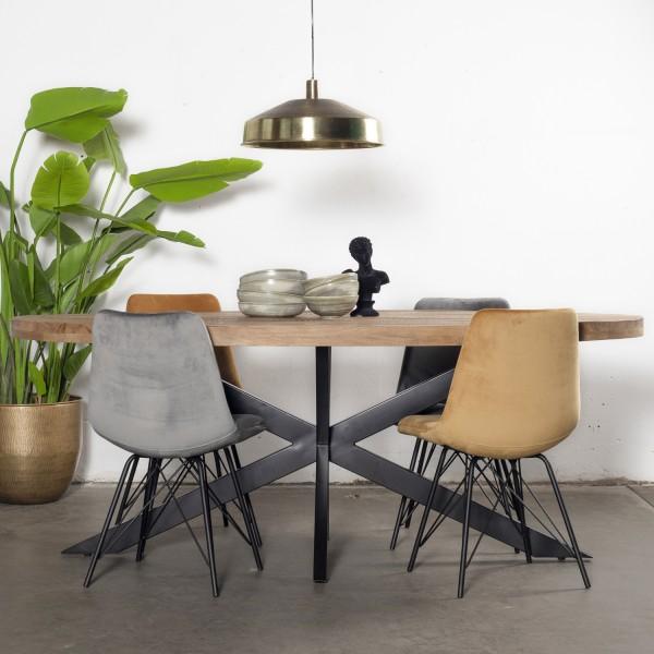 Giga Esstisch Mansour oval 180 x 100 cm Mango Holz Metall