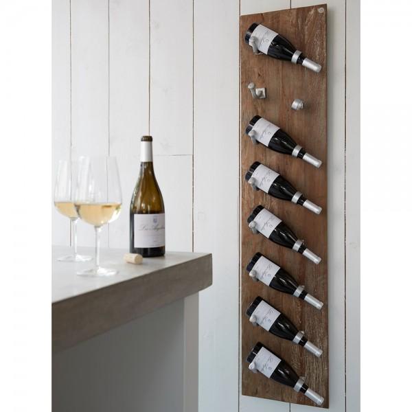 d-Bodhi Holz Wand Weinregal Merlot 8 Flaschen recyceltes Teakholz
