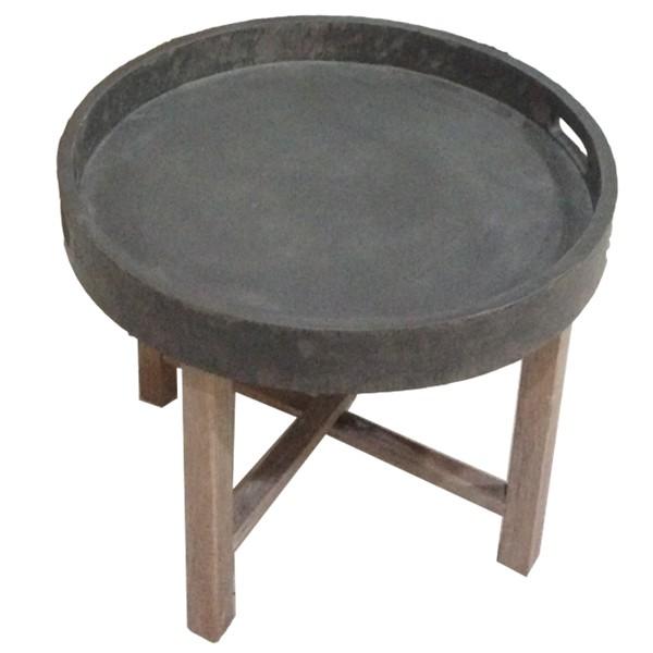 Beistelltisch Couchtisch faltbar rund Ø 55 cm Tablett Beton Tisch Massivholz