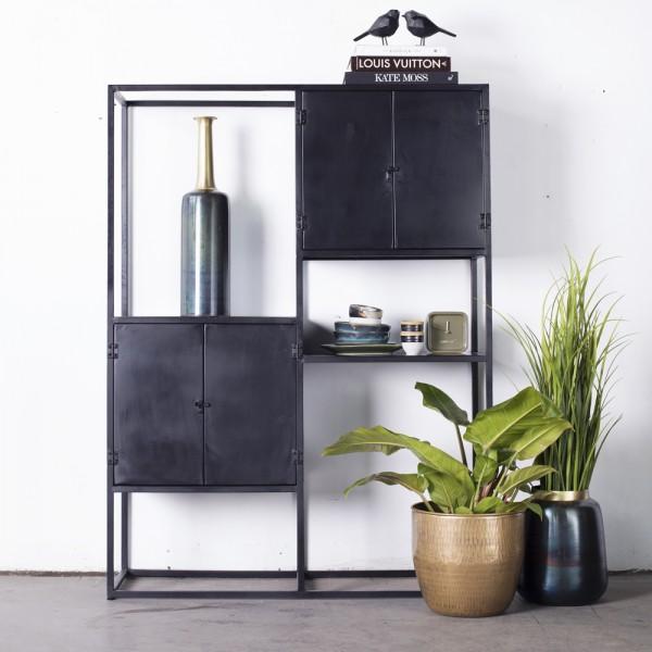 Industrie Regal Kast H 160 cm Metall schwarz Bücherregal
