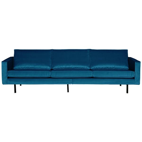 3 Sitzer Sofa Rodeo Samt blau Couch Garnitur Samtsofa Couchgarnitur