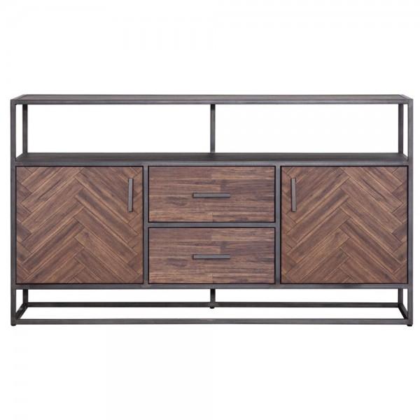 Kommode Hudson 160 cm Sideboard Akazie braun Metall Schrank Türenschrank