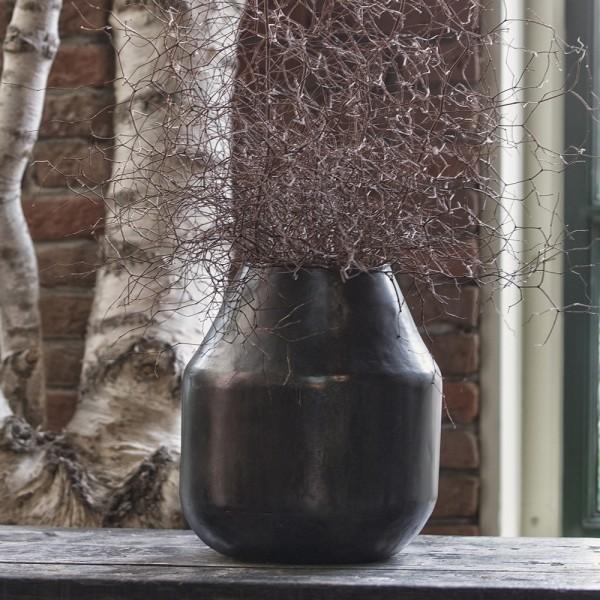 Vintage Vase Artistic Metallvase schwarzes Silber Blumenvase Pflanzpokal