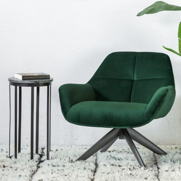 GIGA Lounge Sessel Shannon Samt grün Velvet Polstersessel Fernsehsessel Relaxsessel
