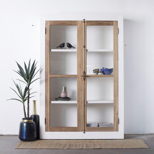 DESIGN Schrank Vitrine BOHEME weiss 142 x 210 cm Glasvitrine Teak Holz