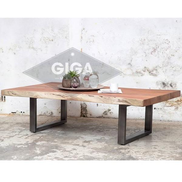 Couchtisch Baumstamm 140 x 80 cm Metall Vintage Sofatisch Beistelltisch Tisch