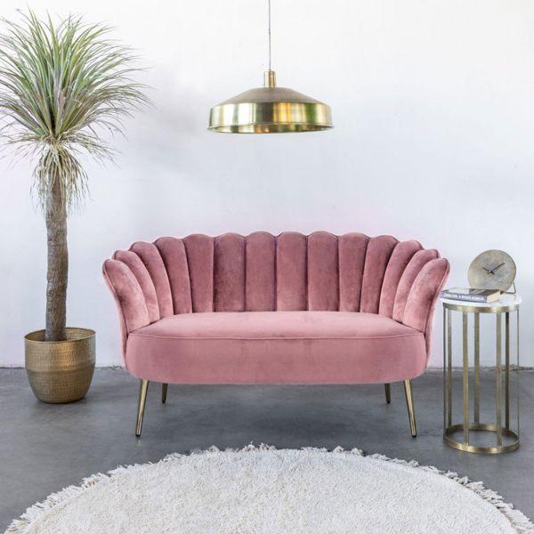 2 Sitzer Sofa Mala rosa 145 cm Samt Sofabank
