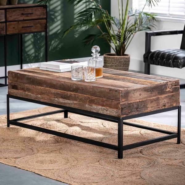 Couchtisch Loft 120 x 60 cm recyceltes Holz Metall Sofatisch Anstelltisch