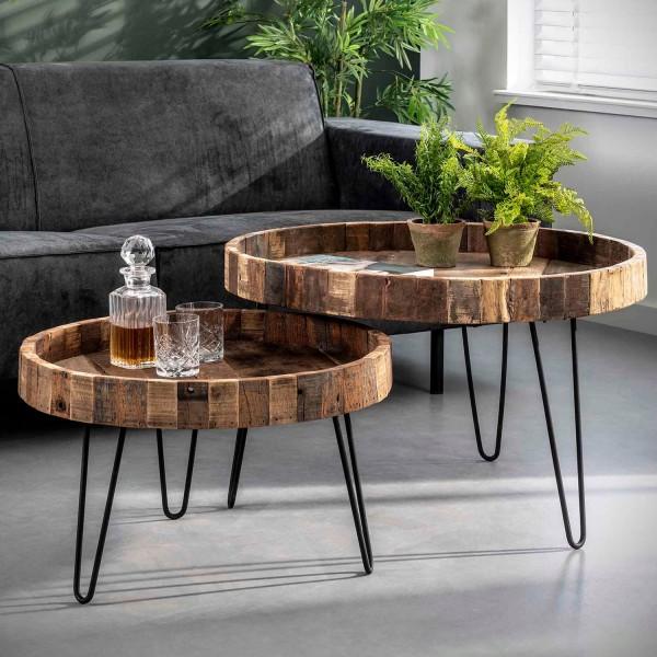 2er Set Couchtisch Loft rund recyceltes Holz