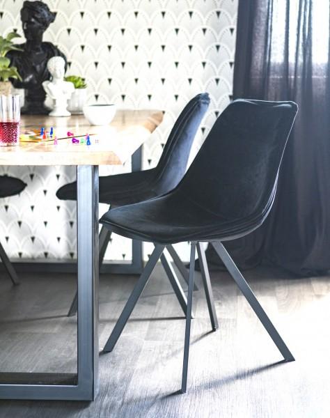 BY-BOO 2er Set Stuhl Belle Samt schwarz