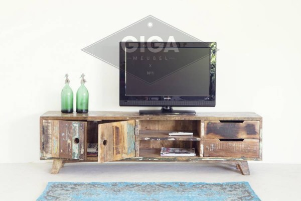 Vintage tv möbel b cm lowboard türen schubladen fernsehtisch