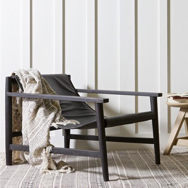 Lounge Sessel SLING Leder schwarz Longesessel Esszimmerstuhl Loungestuhl