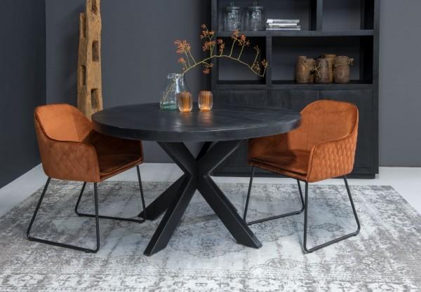 Esstisch Kala Ø 150 cm rund Mango Massivholz Metall schwarz