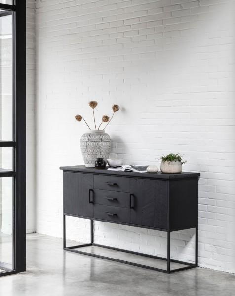 DTP HOME Sideboard Timeless 158 cm recyceltes Teakholz Metall schwarz Schrank