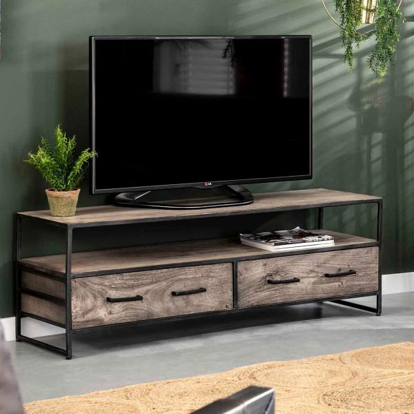 TV Möbel Surf 135 cm Akazie Massivholz Metall schwarz Lowboard