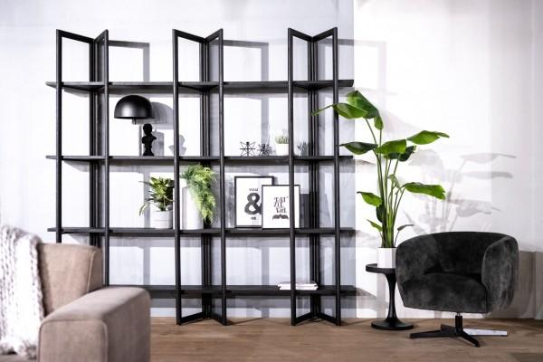 Regal Bookcase B 240 cm Metall Eiche Massivholz schwarz Bücherregal