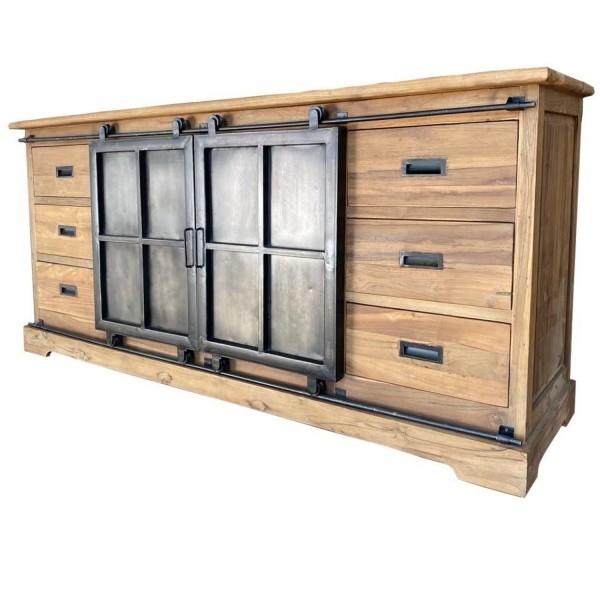Sideboard Porto B 200 cm Teakholz Metall Schrank Schiebetüren Schubladenschrank