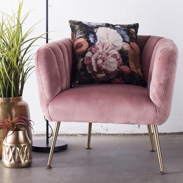 Lounge Sessel Amy Samt Velvet rosa