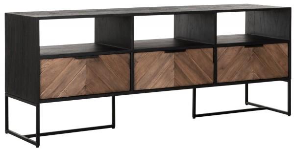 DTP Home TV Möbel Criss Cross 150 cm Teakholz Metall schwarz Lowboard
