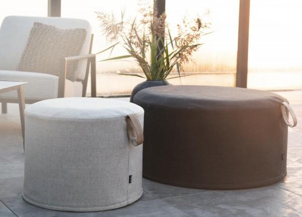 Outdoor Sitzhocker Kotte schwarz Pouf Ø 80 cm rund