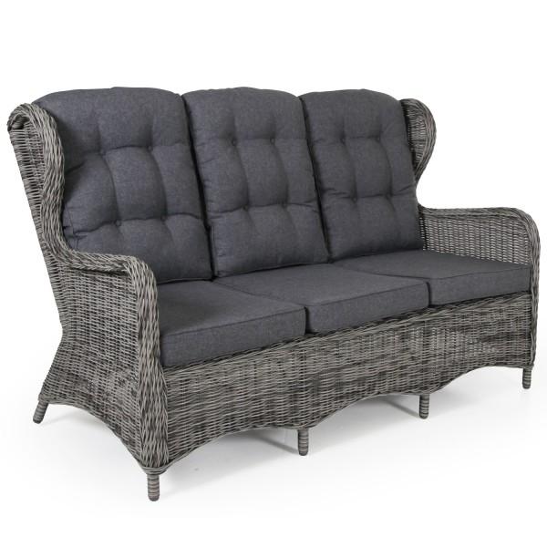 3 Sitzer Gartenbank Lounge Garten Sofa Rosita grau incl. Polster