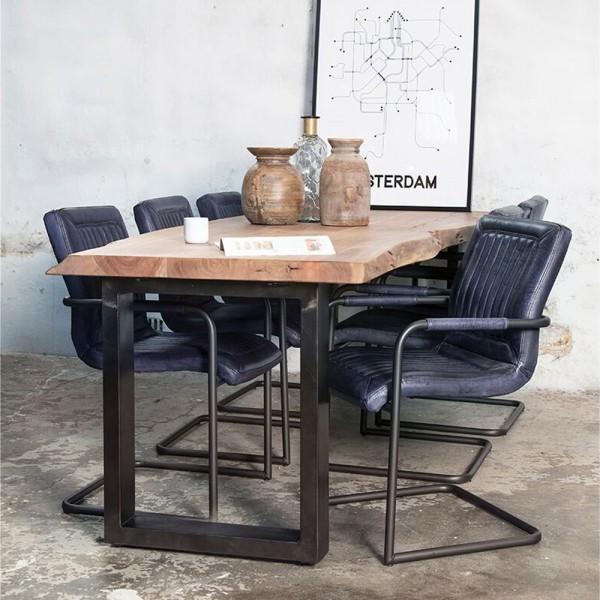 Esstisch Baumkante 200 x 100 cm Esszimmertisch Baumstamm Massivholz Akazie Metall
