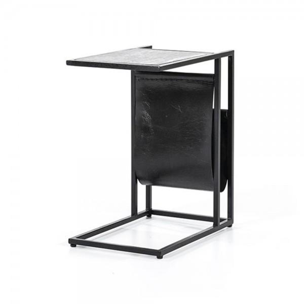 Beistelltisch Laptoptisch mit Zeitungsständer DALIAN Marmor schwarz