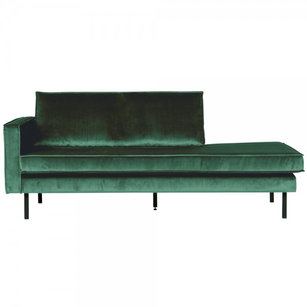 Sofa Chaiselongue RODEO Recamiere Samt waldgrün links Tagesbett
