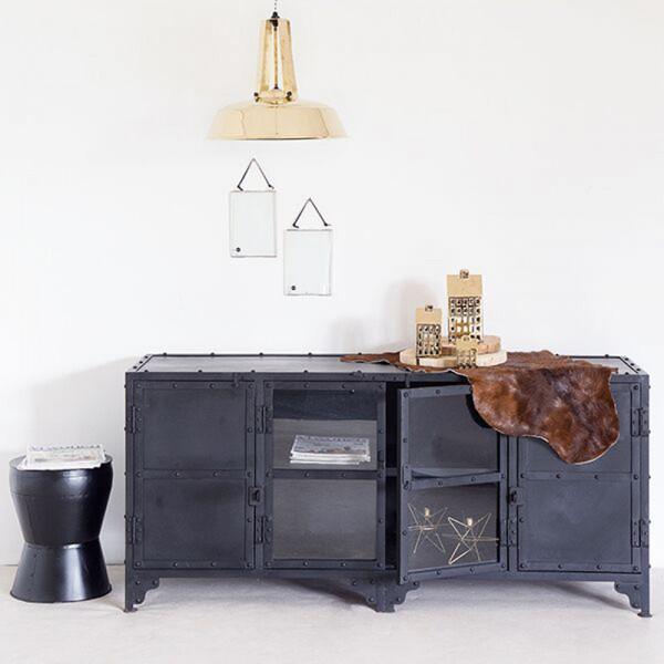 Vintage TV Möbel B 152 cm Lowboard Metall schwarz