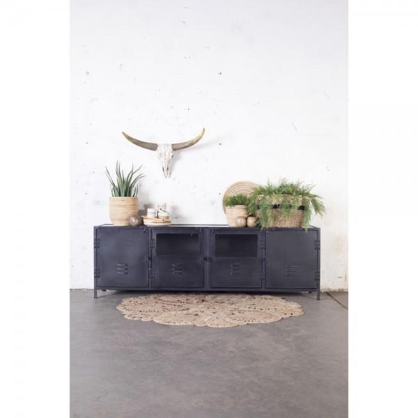 TV Möbel Lara 190 cm Tisch Fernseh Board TV-Board Lowboard Metall schwarz