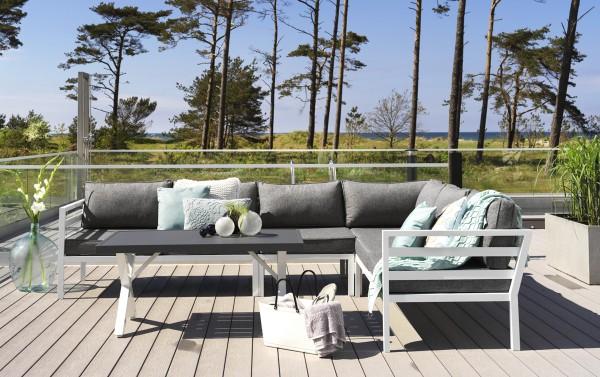 Ecksofa Garten Lounge Set WELDON incl. Sitzkissen weiss